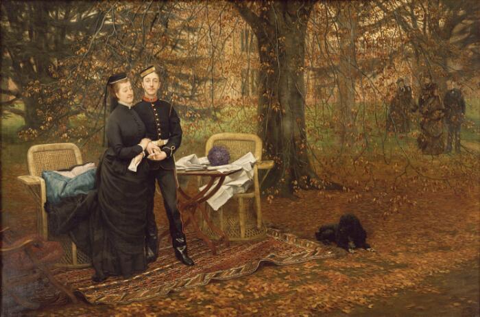 James Tissot (Nantes, 1836– Buillon, 1902), L'Impératrice Eugénie et le Prince impérial dans le parc de Camden Place